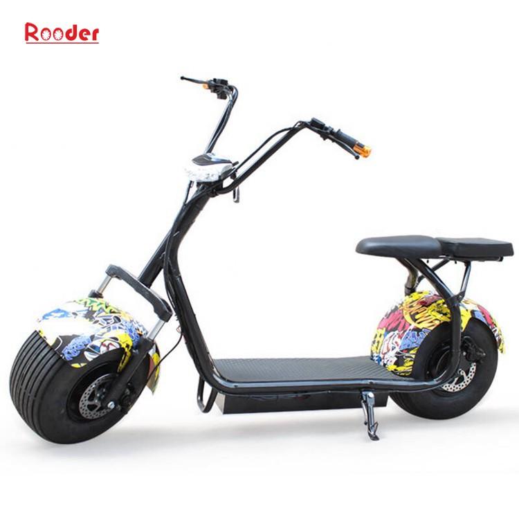 harley elektrik hindistancevizi Çin ucuz şehirden yetişkin için CE 1000w 60V lityum pil ve 2 büyük teker şişman lastik scooter r804 harley elektrikli motosiklet bisiklet Rooder fabrikasında (17) citycoco