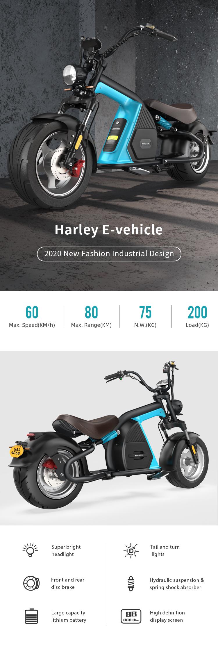 Elektroroller Harley Scooter Citycoco Elektroscooter COC EEC ROODER (1)