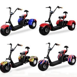 지방 타이어 60V 리튬 배터리 1,000w 모터 사용자 정의 속도 숙련 된 색상 블랙 화이트 레드 그린 핑크 옐로우 오렌지 낙서 3 륜 전기 스쿠터 r804t