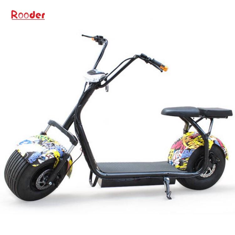 harley elektrik hindistancevizi Çin ucuz şehirden yetişkin için CE 1000w 60V lityum pil ve 2 büyük teker şişman lastik scooter r804 harley elektrikli motosiklet bisiklet Rooder fabrikasında (18) citycoco
